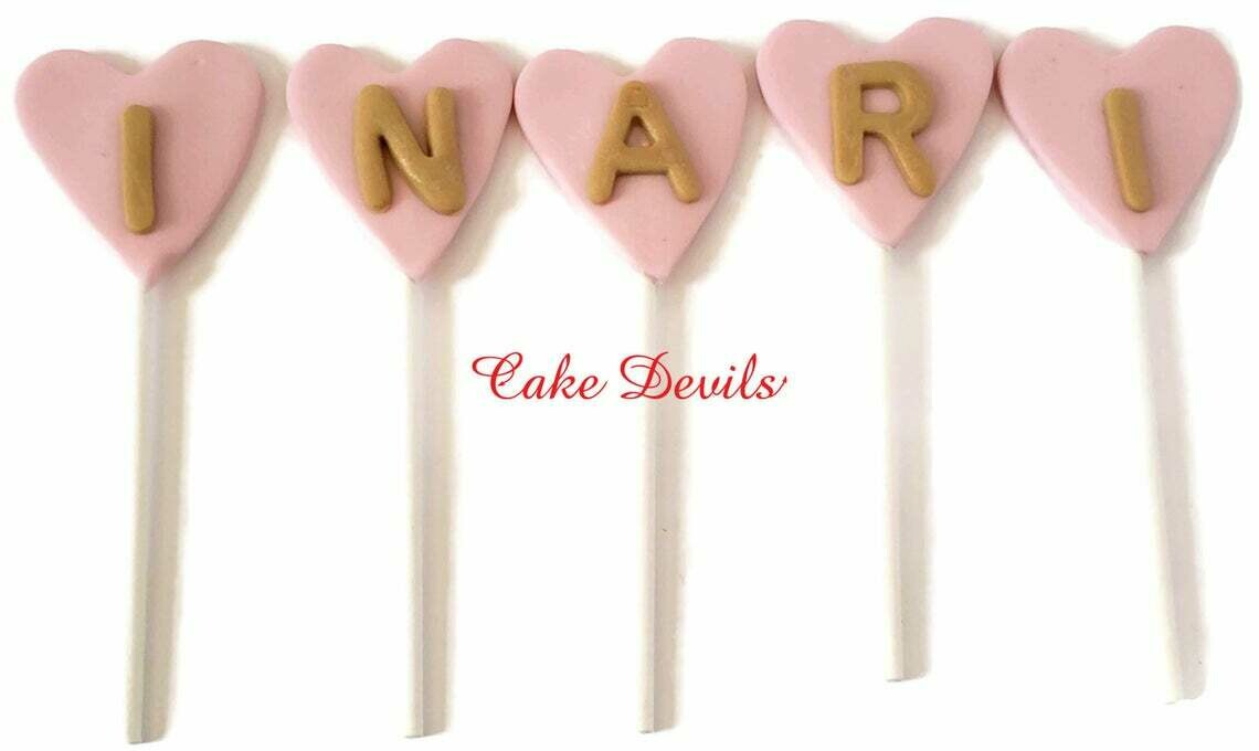 Fondant Letters in Hearts Cake Toppers