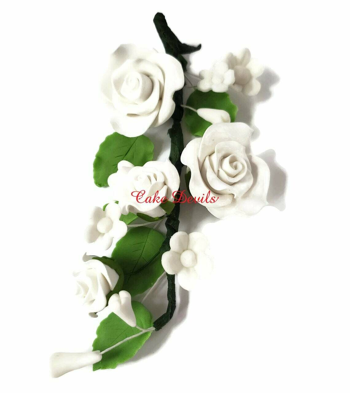 White Fondant Rose Cake Topper Spry