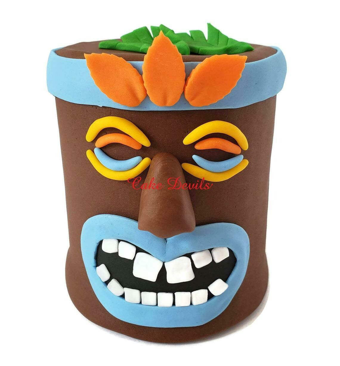 Large Fondant Tiki Head Cake Topper