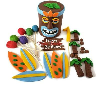 Tiki Head Cake Topper and Fondant Beach or Luau Party Cake Decorations