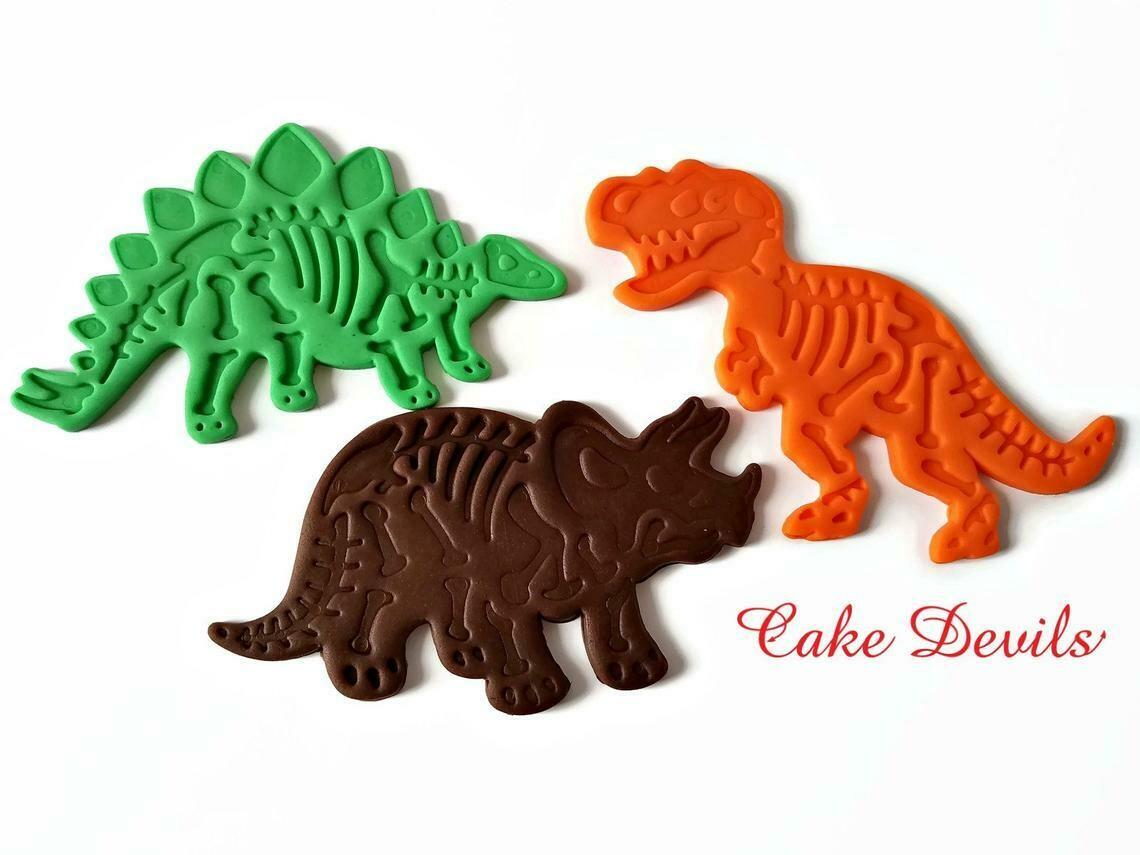 Fondant Dinosaur Fossil Cake Toppers