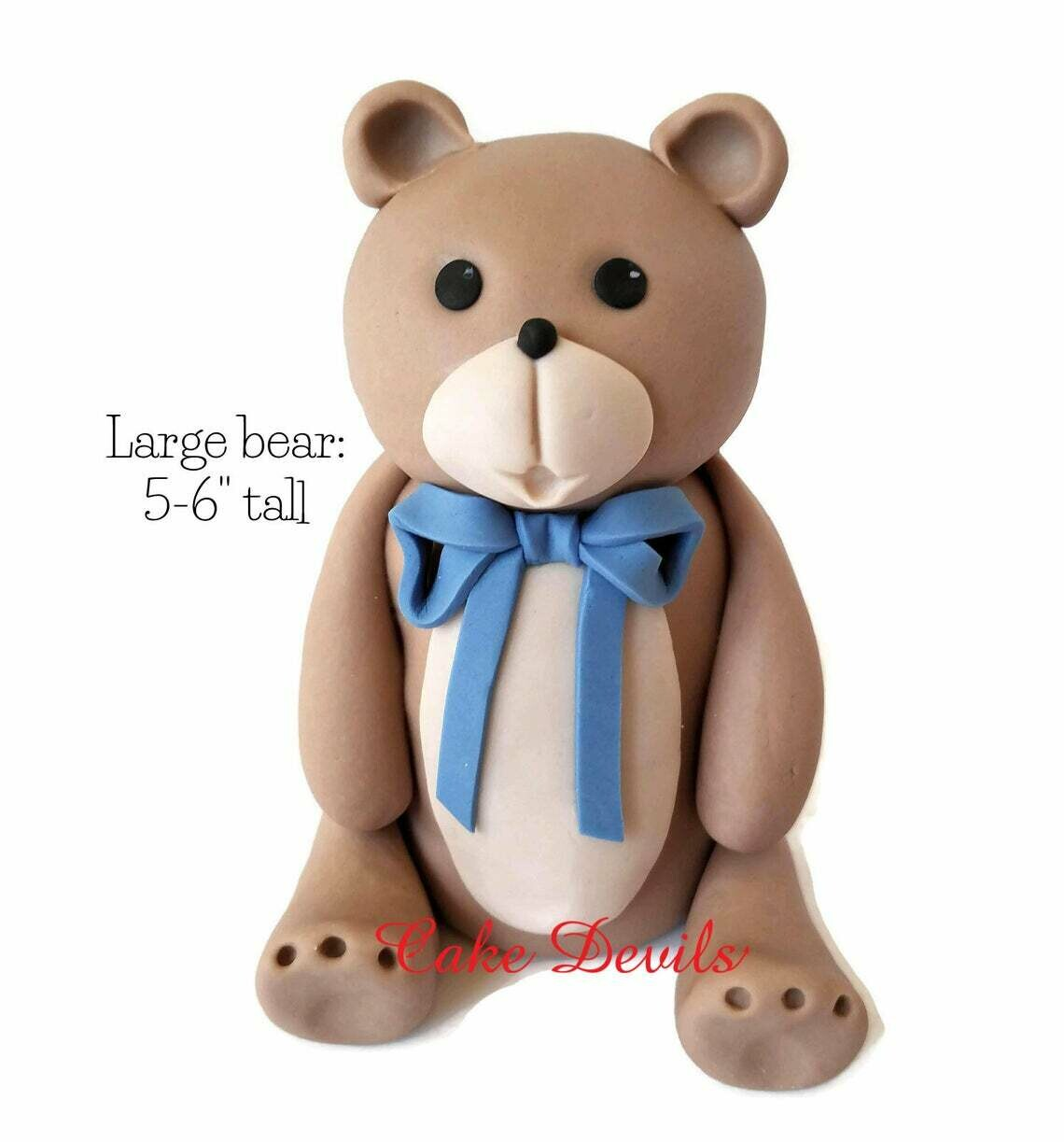Large Fondant Teddy Bear Cake Topper with big bow