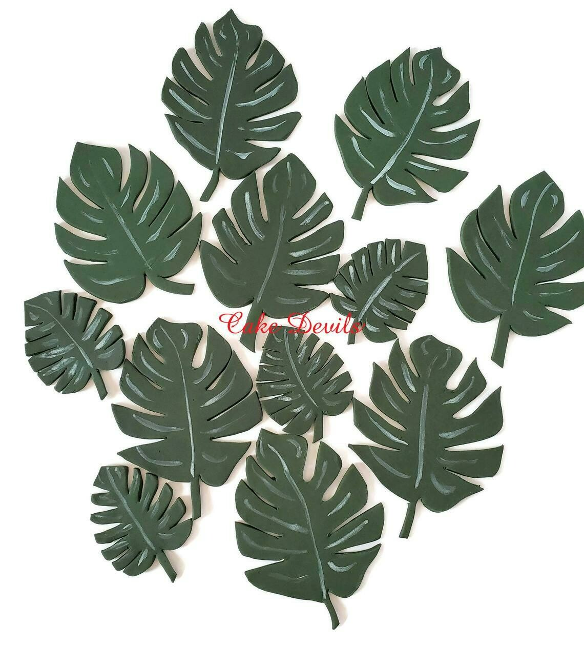 Fondant Monstera Palm Leaves Cake Toppers