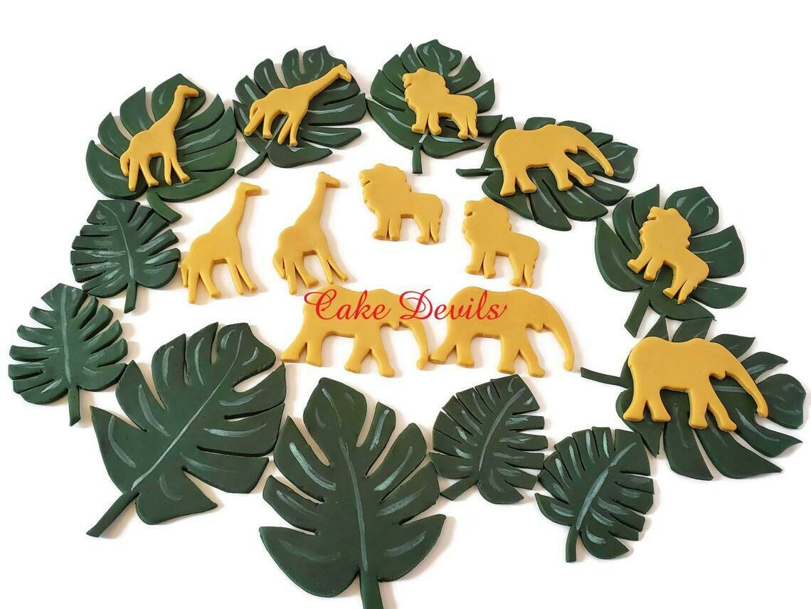 Fondant Gold Jungle Safari Animals and Monstera Leaves Cake Toppers