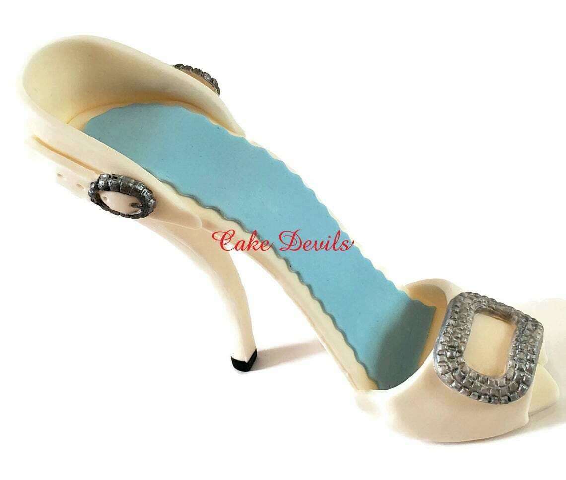 Fondant Stiletto High Heel Cake Topper with buckle embellishments
