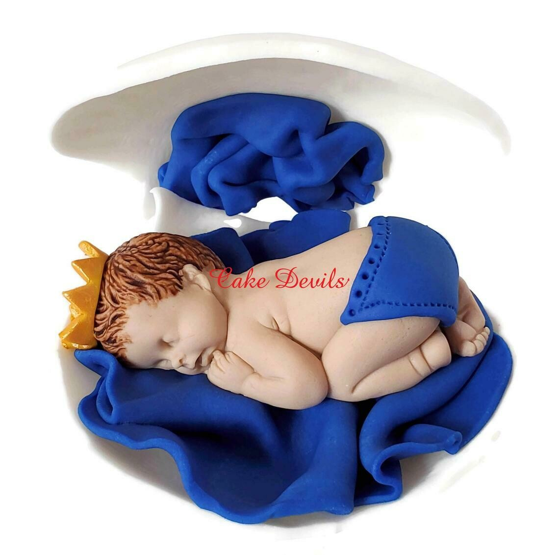 Fondant Prince or Princess Baby Shower Cake Topper in a Clam Shell Cake Decoration