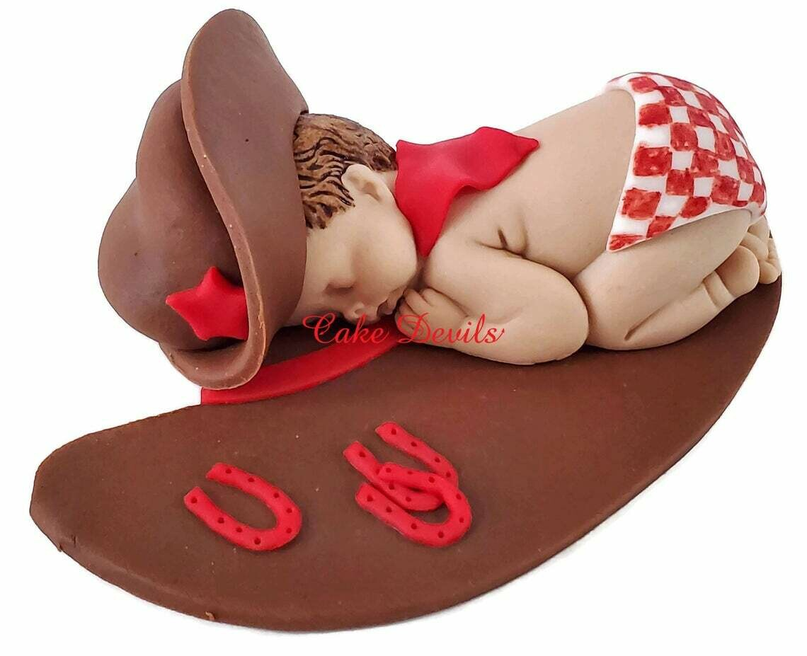 Fondant Cowboy Baby Shower Cake Topper with Gingham Diaper