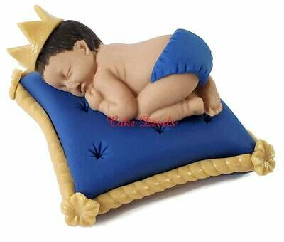 Royal Baby Shower Fondant Cake Topper of a Prince or Princess sleeping baby on a Pillow and Optional Matching Fondant Initial Letter