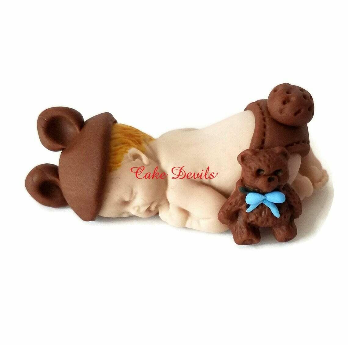 Fondant Baby Cake Topper dressed as Teddy Bear for Baby Shower, Baptism, or Christening
