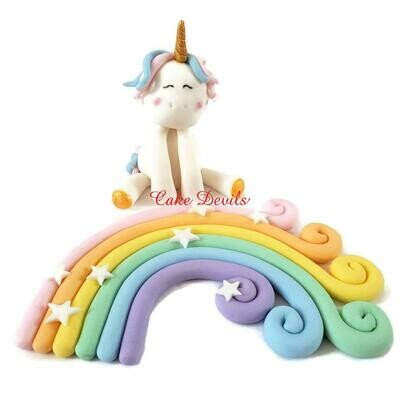 Fondant Unicorn and Rainbow Cake Toppers