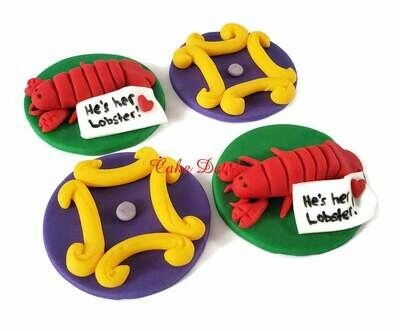 Friends Peep Hole Frame and Lobster Fondant Cupcake Toppers
