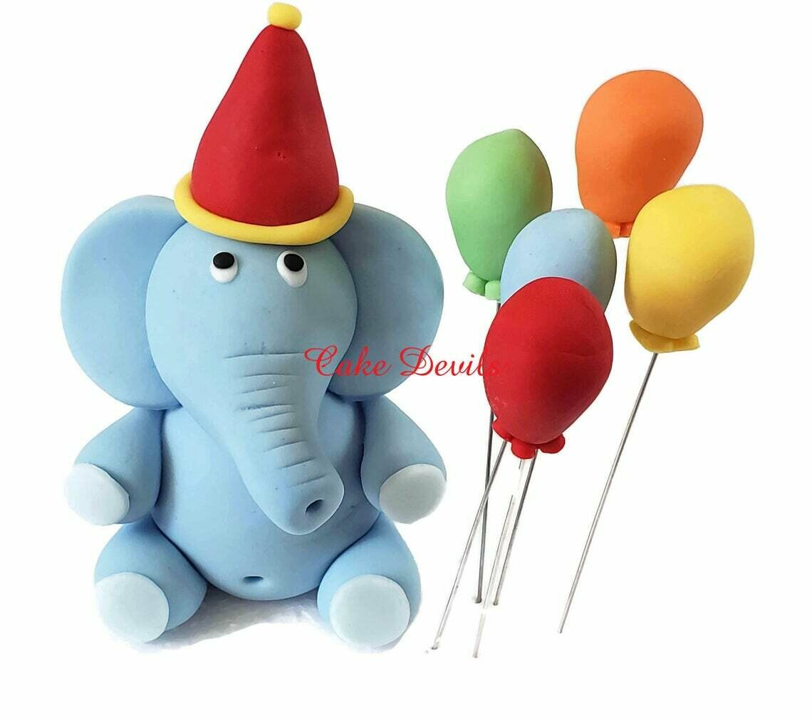 Fondant Circus Elephant Cake Topper with Balloons