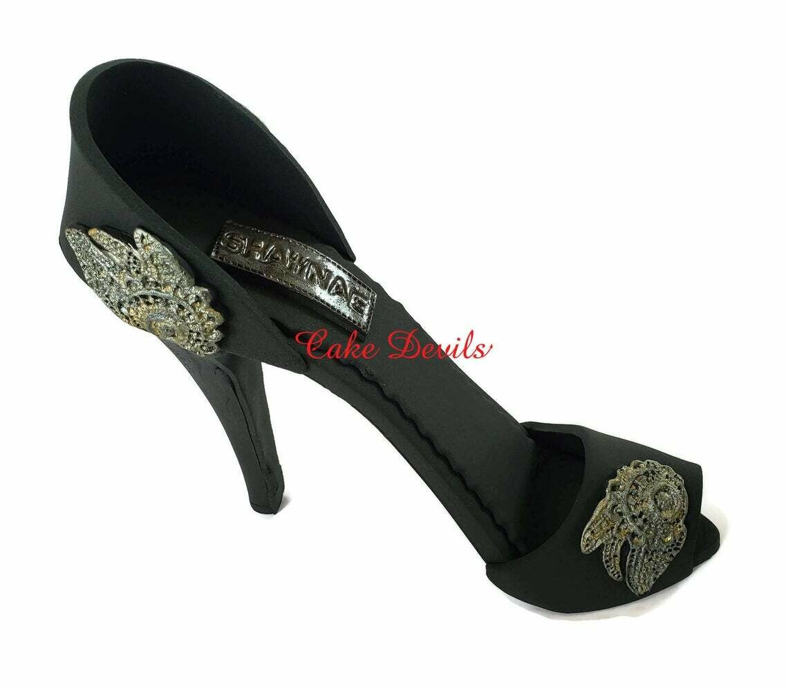 Black Fondant Stiletto High Heel Cake Topper with lace embroidery