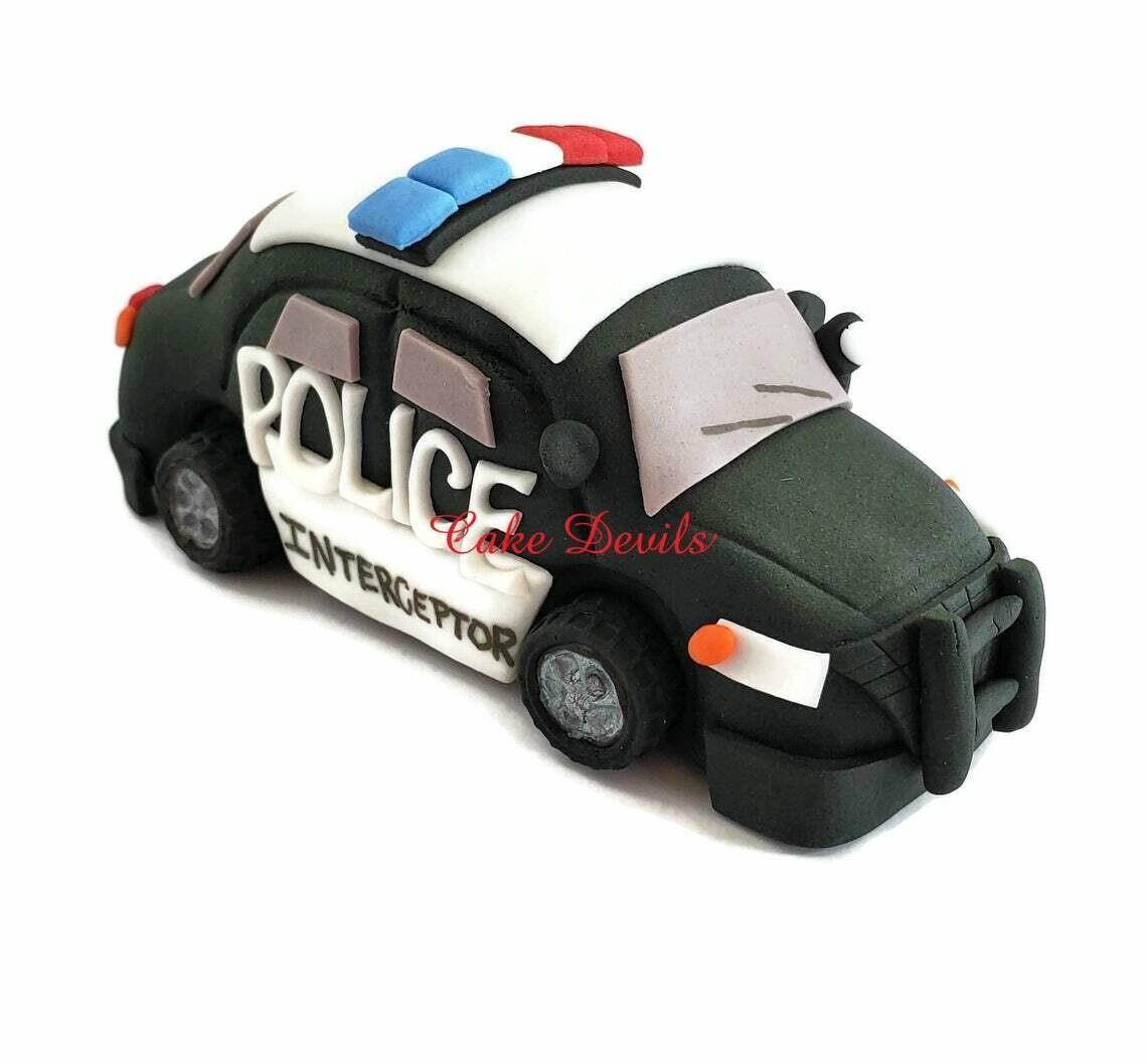 Police Car Cake Topper Handmade of Fondant