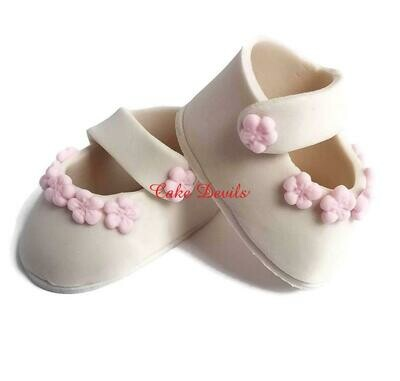 Baby Shower Shoes Cake Topper, Fondant Baby Booties with Flowers Cake Decorations