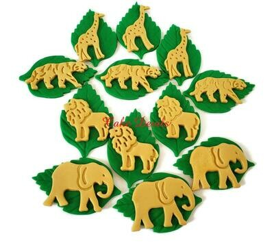 Fondant Gold Jungle Safari Animals on Leaves Cupcake Toppers
