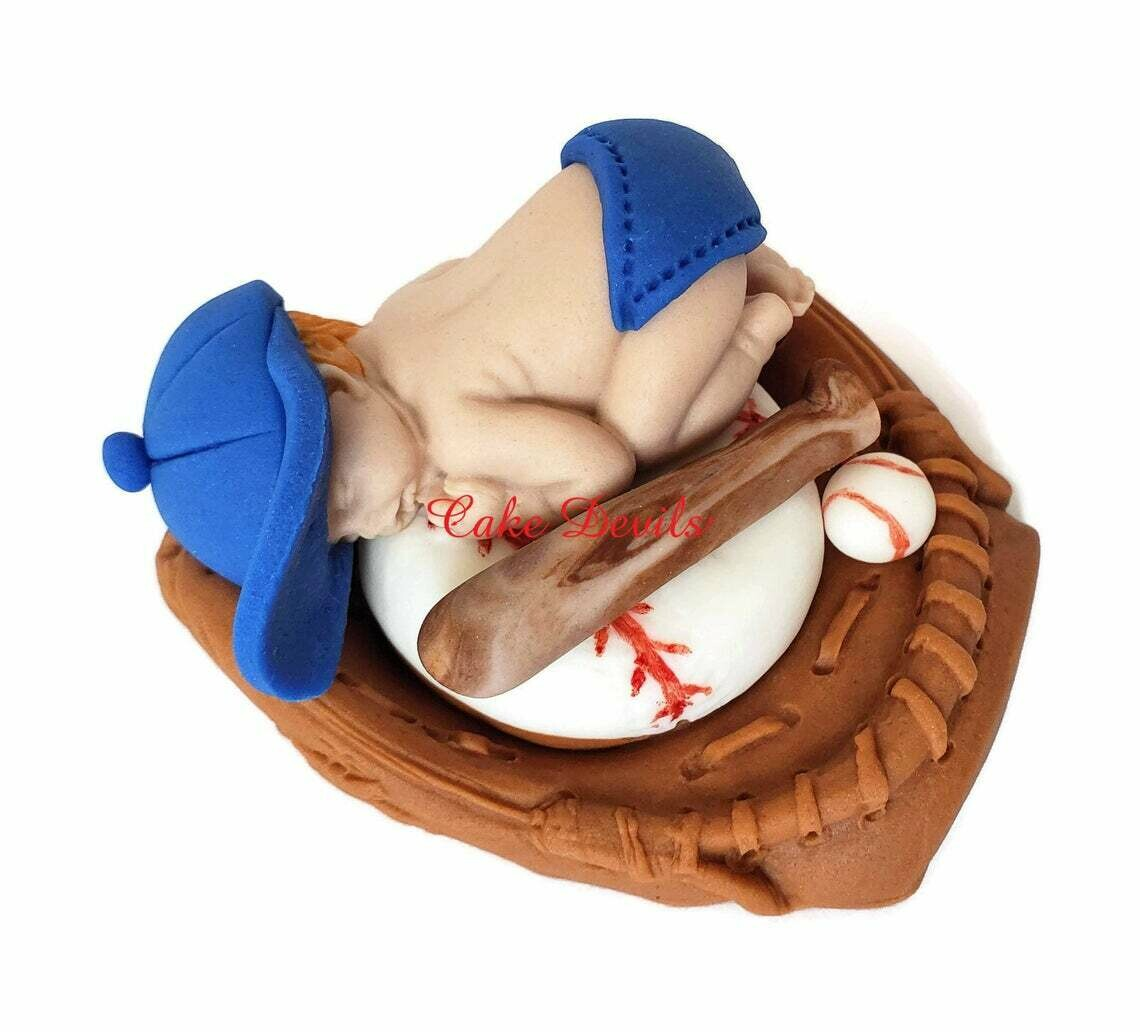 Fondant Baseball Baby Boy in Glove Cake Topper, Sleeping Baby Shower Cake Decoration