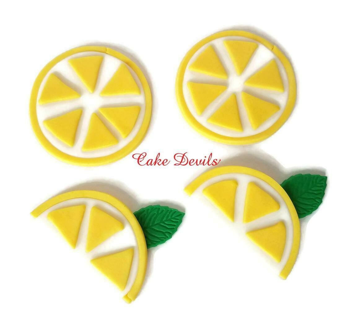 Fondant Lemon Slices Cupcake Toppers