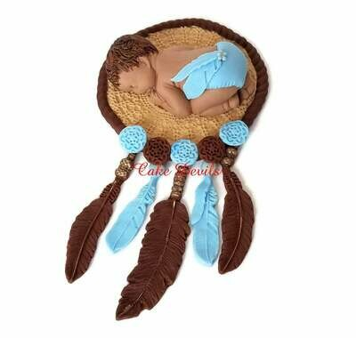 Bohemian Fondant Dream Catcher Cake Topper for Baby Shower