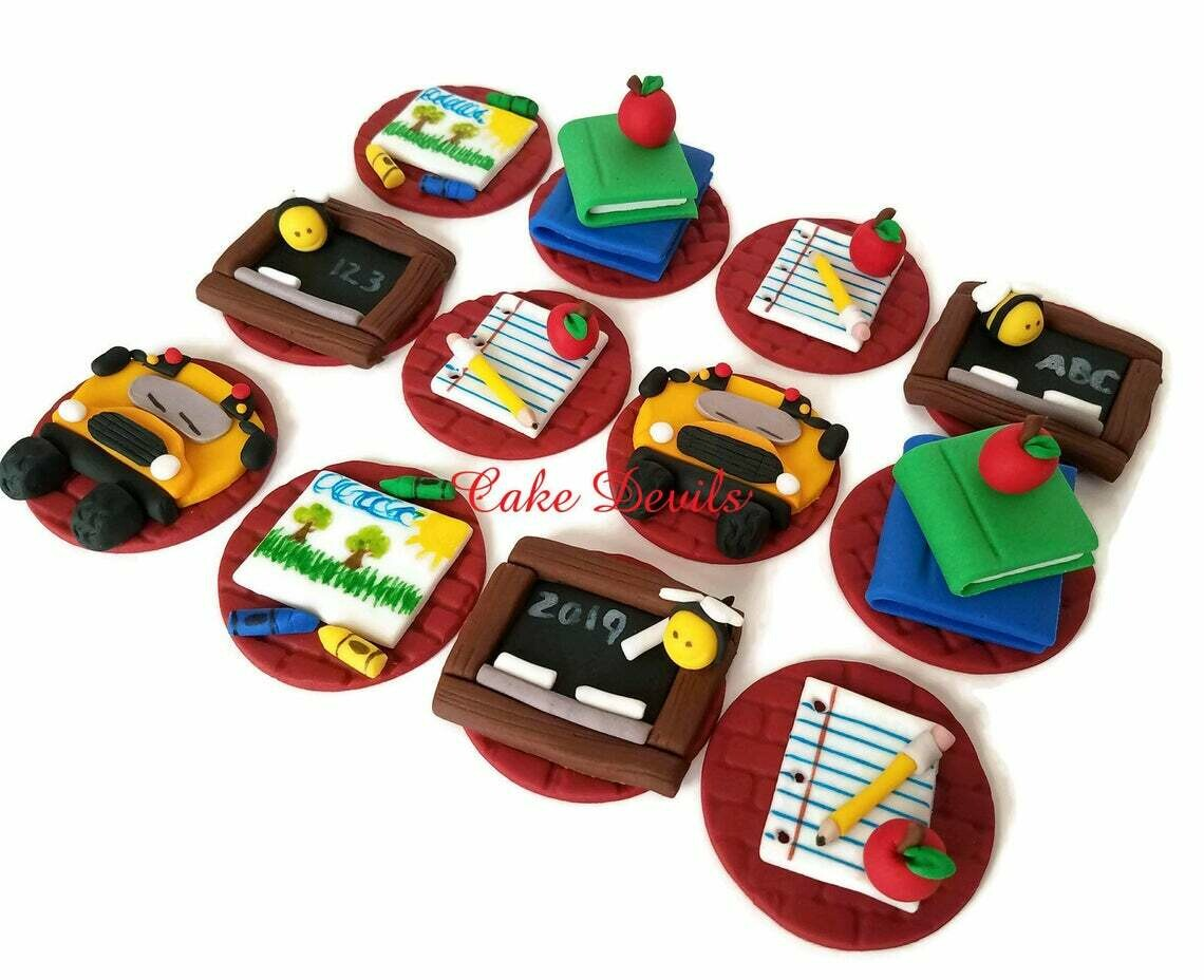 Fondant Back to School Themed Cupcake Toppers