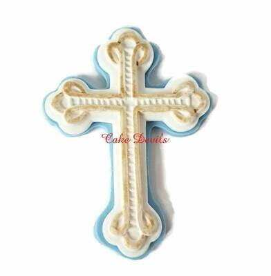 Fondant Cross Cake Topper for Baptism, Christening, Communion