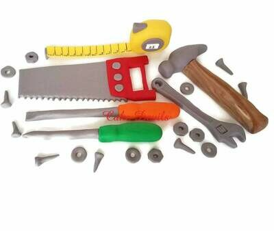Tool Party Cake Toppers, Colorful Tools Cake Decorations