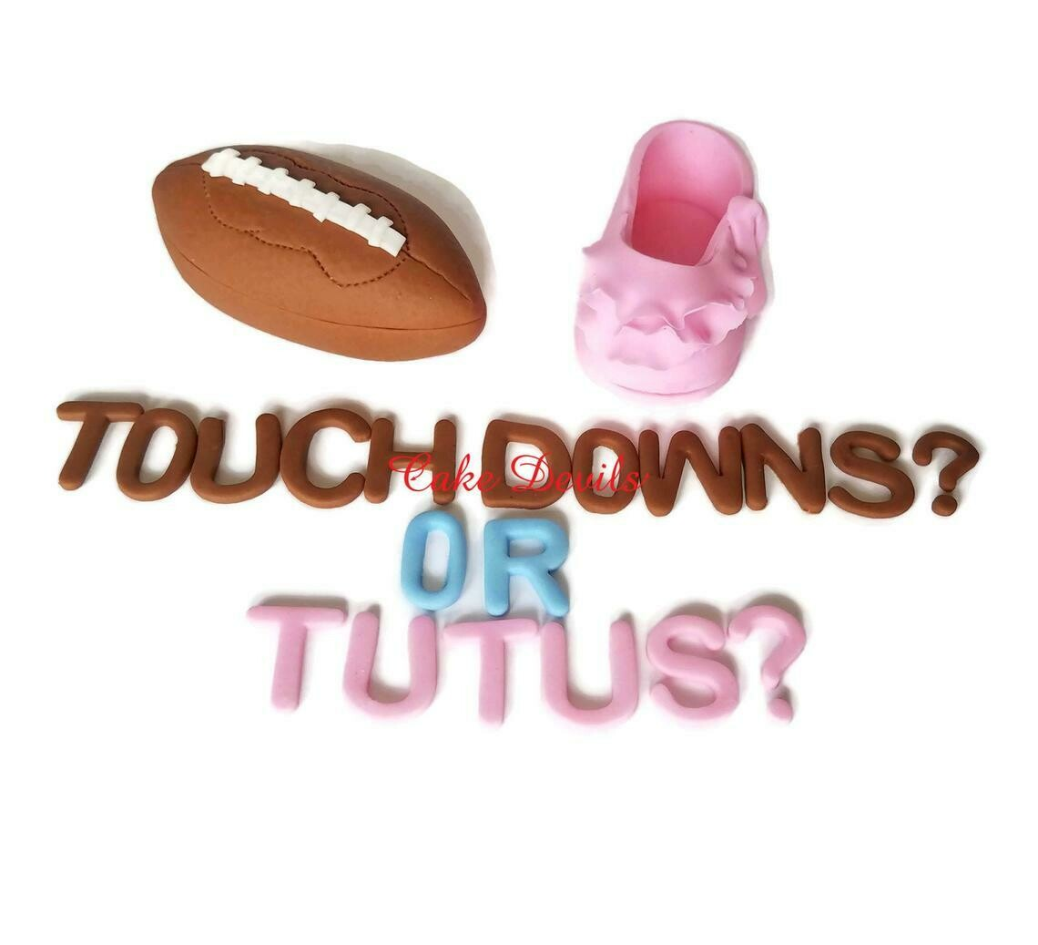 Tutus or Touchdowns Fondant Gender Reveal Cake Toppers