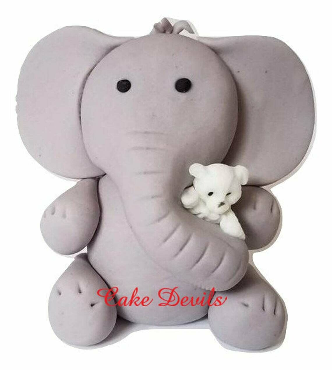 Fondant Elephant hugging Teddy Bear Cake Topper