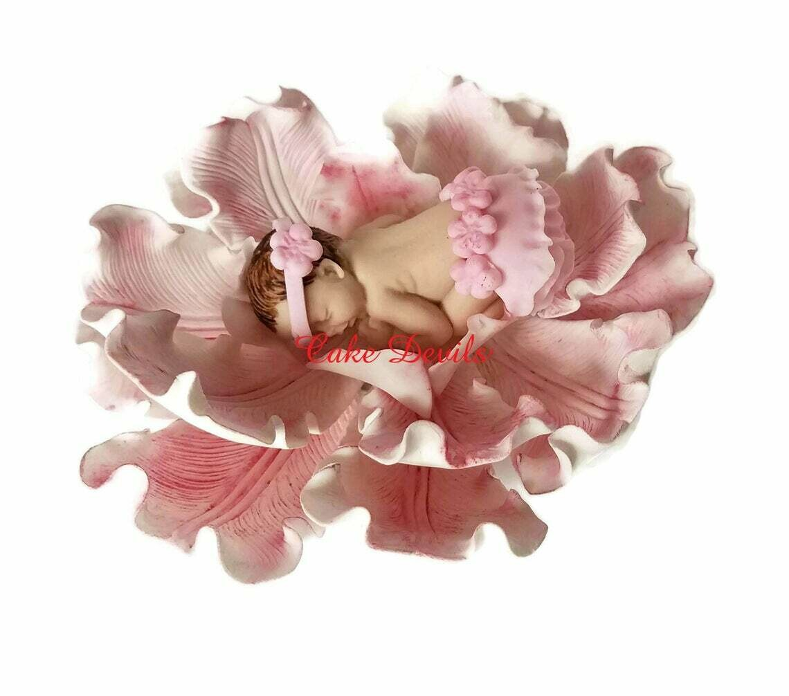 Baby Girl in a Flower Fondant Cake Topper with ruffled Skirt
