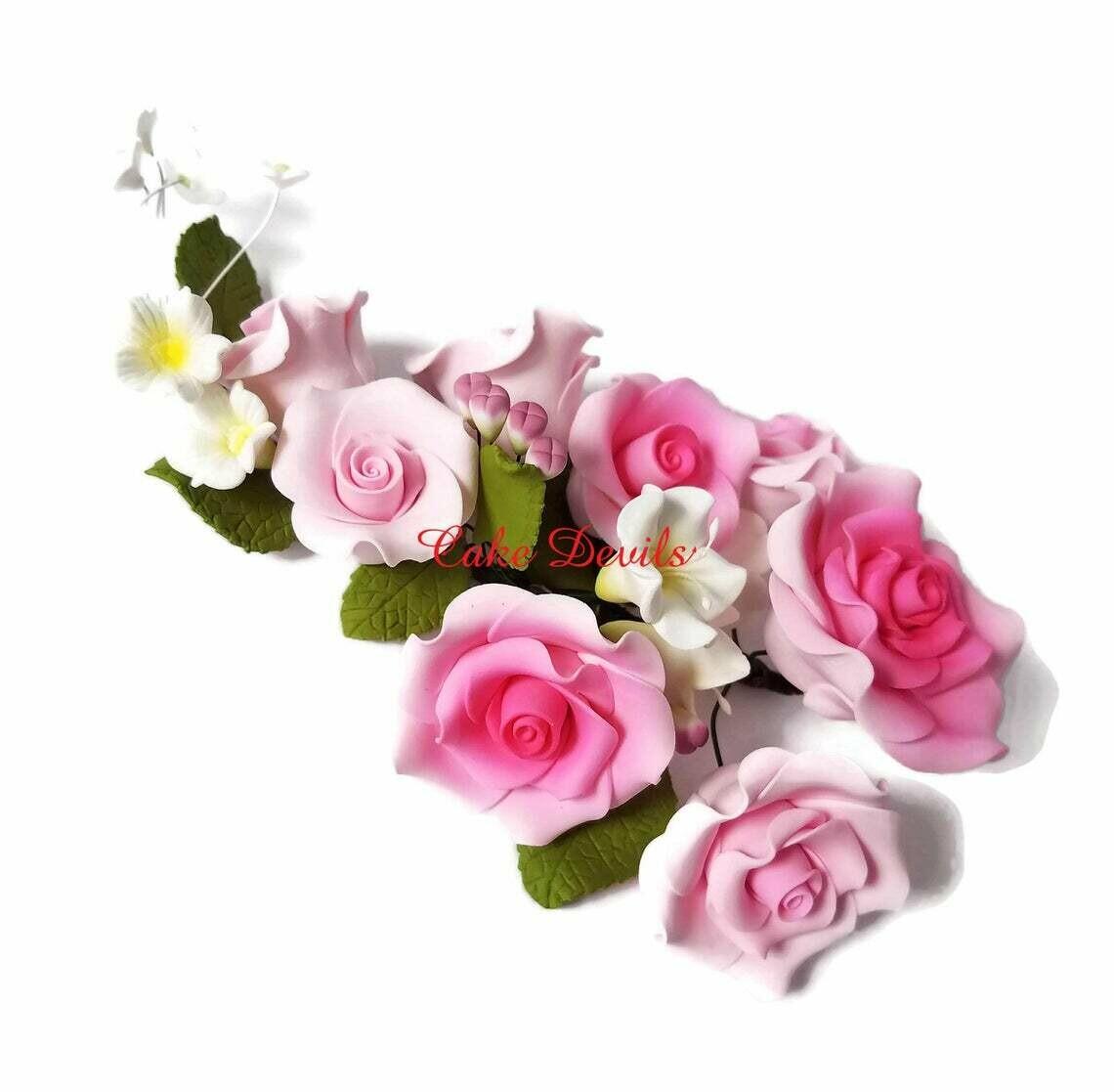 Special! Pink Fondant Rose Cake Topper