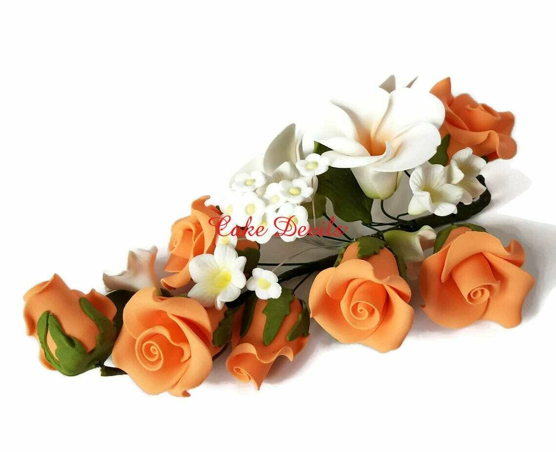 Special! Orange Fondant Rose Cake Topper