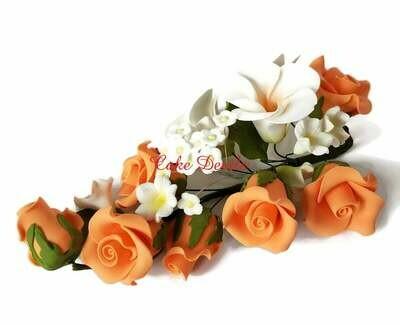 Special! Orange Fondant Rose Cake Topper