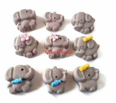 Fondant Elephant Cupcake Toppers and Cake Decorations