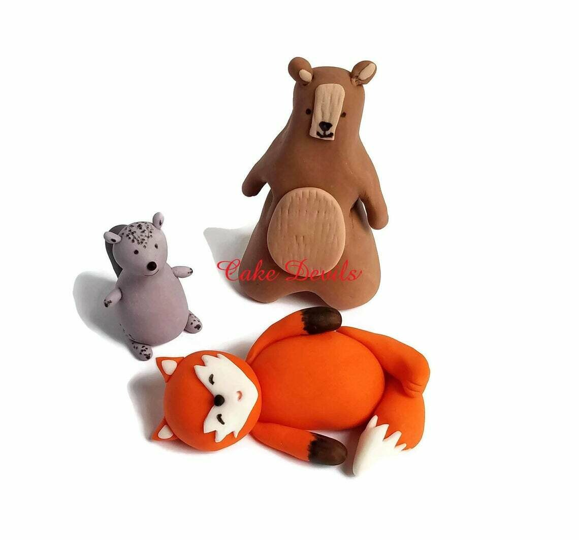 Woodland Animals Fondant Cake Toppers, We can Bearly Wait Baby Shower