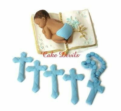 Handmade Christening Cake Topper, Baptism Fondant Sleeping Baby on a Bible Cake Decoration