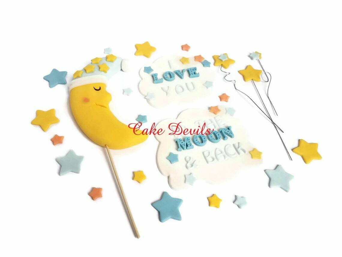 Fondant I love you to the Moon and Back Cake Toppers