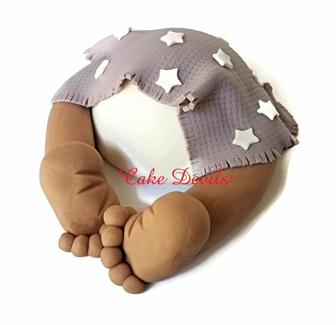 Star Pattern Baby Butt Baby Shower Cake Topper