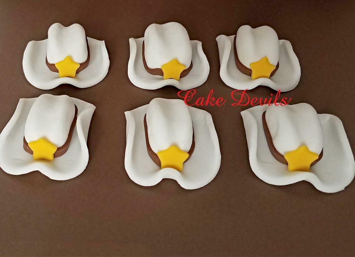 Cowboy Hat Fondant Cupcake Toppers
