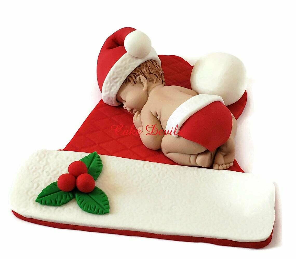 Christmas Baby Announcement, Christmas Baby Shower Cake Topper