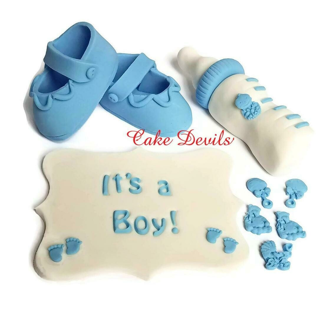 Bottle, Booties, and Plaque Baby Shower Fondant Cake Toppers