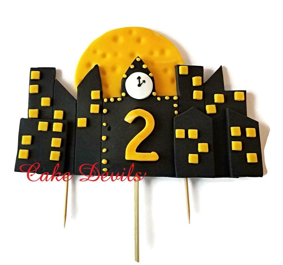 Superhero Buildings Cake Topper, Fondant Night Scene Cake Decorations