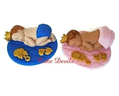 Royal Baby Shower Fondant Cake Topper, Prince sleeping baby, Princess Cake Decoration
