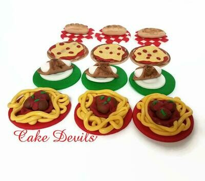 Italian Food Cupcake Toppers, Taste of Italy Fondant Cupcake Decorations