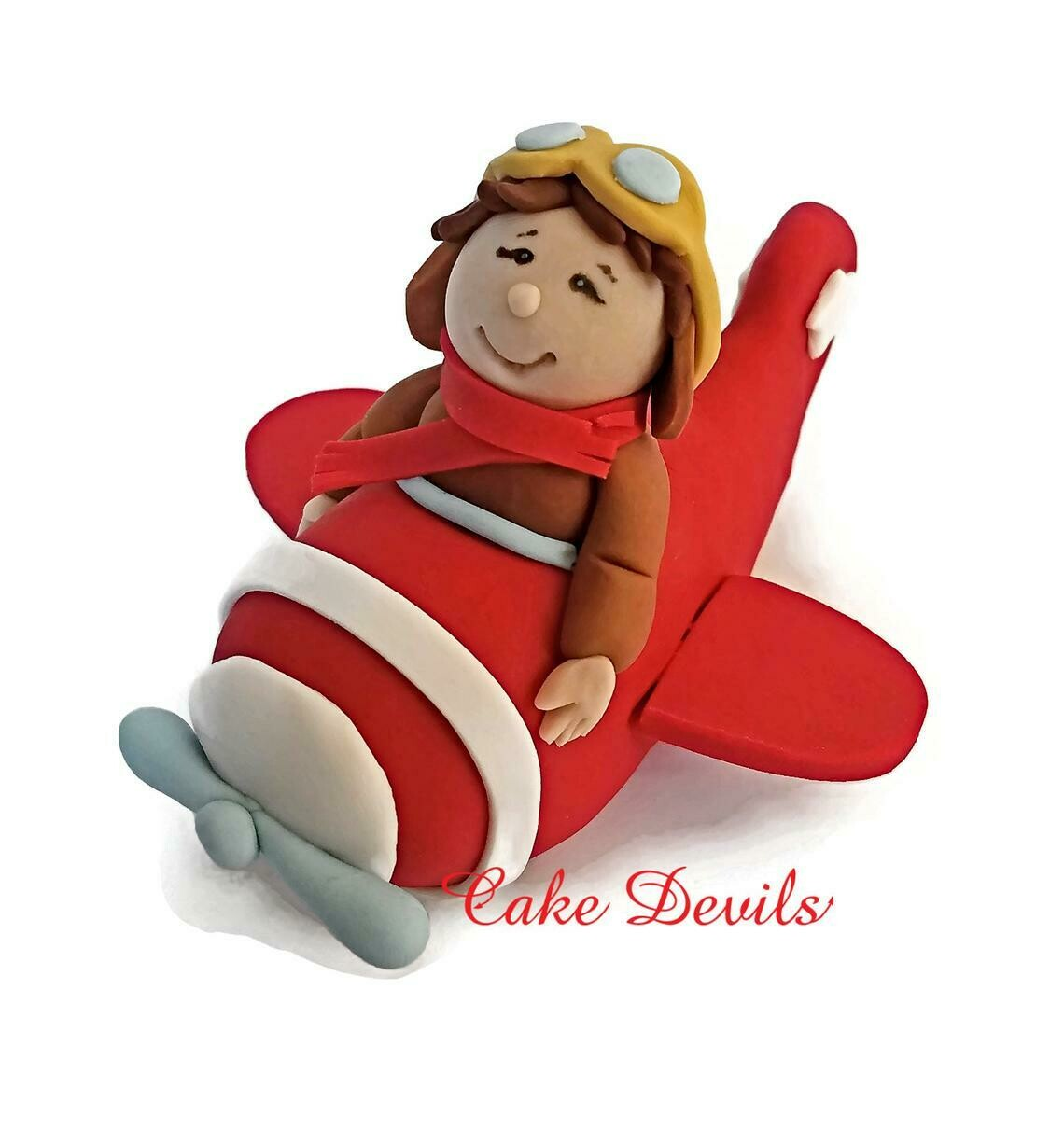 Boy in Plane Fondant Cake Topper