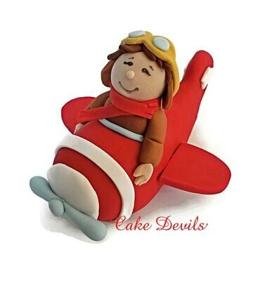Boy in Plane Fondant Cake Topper