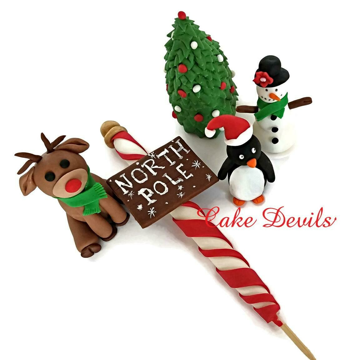 North Pole Holiday Cake Toppers, Fondant Christmas Decorations
