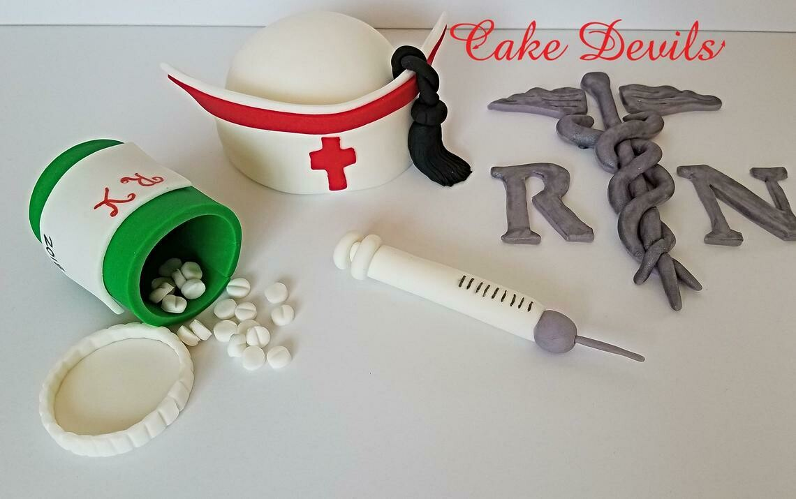 Nurse Graduation Cake Toppers, Fondant Nurse Kit