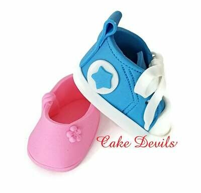 Fondant ballet slipper or sneaker Gender Reveal Cake Toppers