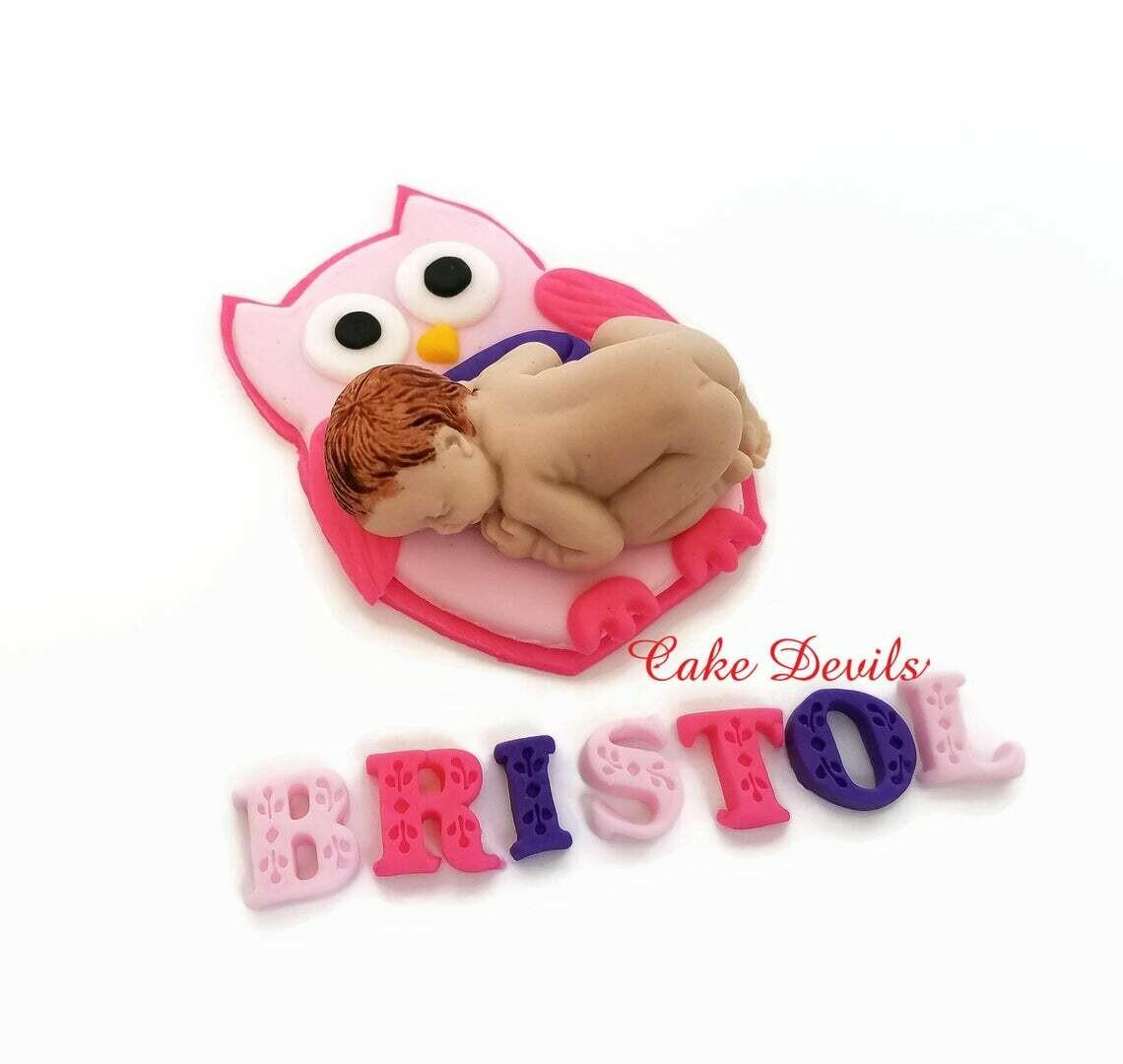 Owl Baby Shower Cake Topper
