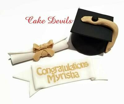 Graduation Cake Topper with Fondant Graduation Cap, Congratulations Banner, and Diploma Cake Decoration
